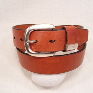Fossil Leather Belt Brass Buckle Light Brown